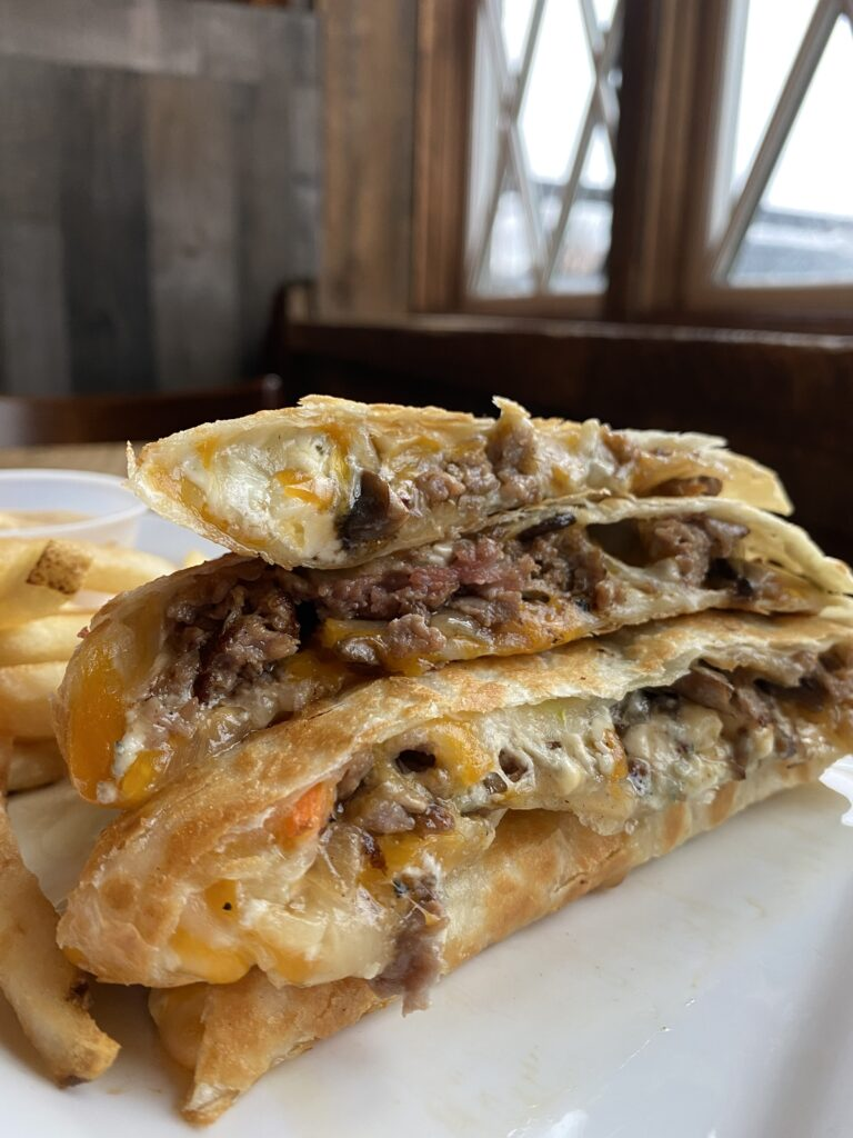 pork 'n potato quesadilla